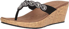 Skechers Women's Beverlee-Bizzy Babe-Rhinestone Thong Wedge Sandal/Black