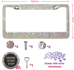 Rhinestone License Plate Frames with GiftBox and 7 Shiny Crystal Rows