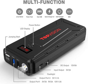 Car Jump Starter, 2200A Peak 20800mAh Portable Car Power Pack with USB Quick Charge 3.0