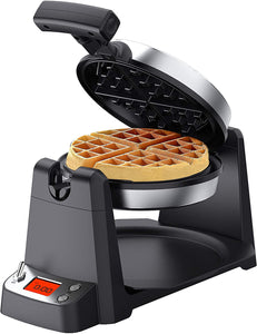 "Echomes Flip Belgian Waffle Maker with LCD Display (1.4"" Thick Waffles),"