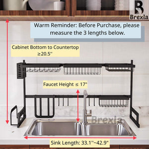 BREXLA Length Adjustable Over The Sink Dish Drying Rack (33.1''~42.9'')