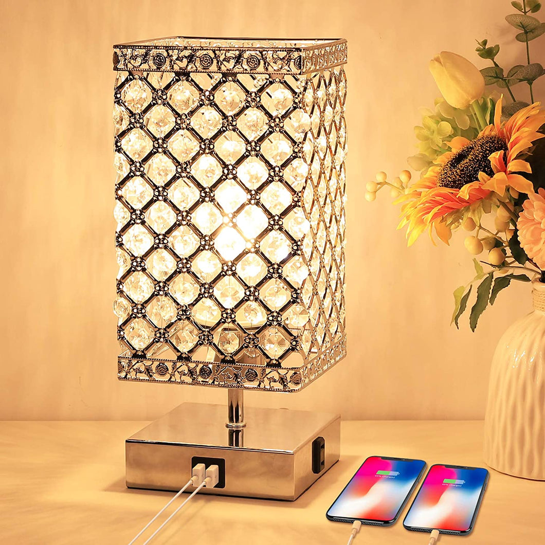 Touch Control Crystal Table Lamp with USB Ports and AC Outlet.
