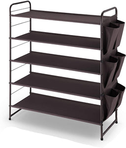 5-Tier Stackable and Expandable Shoe Rack with Side 6 Shoes Pockets.