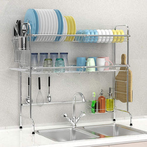 Large Dish Rack with Utensil Holder Hooks