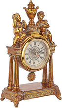 God of Time Pendulum Mantle Clock, 14 Inches, Antique Gold