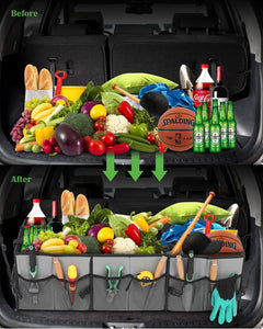 Upgraded Car Trunk Organizer with Cooler Bag - Simniam Multi Compartments Collapsible Large Car Organiser Storage with Reflective Strip Design, Trunk Organizer for auto, SUV, Truck, Miniva