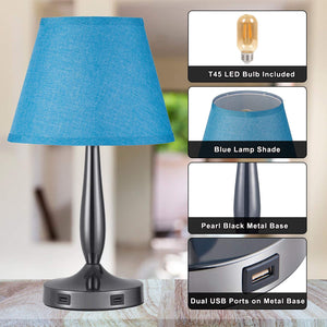 Blue Touch Bedside Table Lamp with 2 USB Charging Ports.