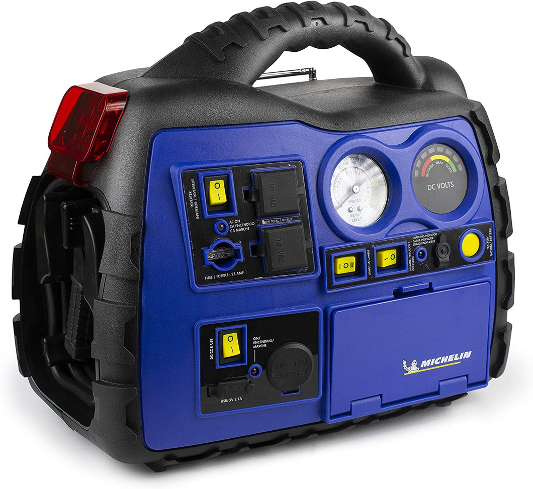 Portable 1000A Jump Starter w/Air Compressor and 400 Watt Surge Power Invertor