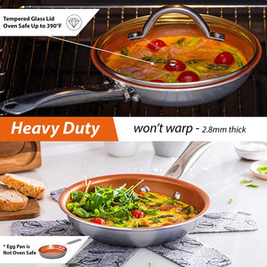 Home Hero Copper Pots and Pans Set - 13pc Copper Cookware Set Copper Pan Set