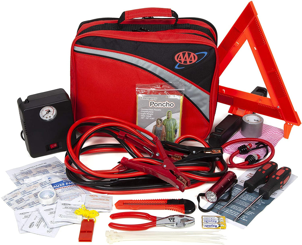 Lifeline 4388AAA Excursion Road, 76-Piece Car Air Compressor, Jumper Cables, Flashlight and First Aid Kit