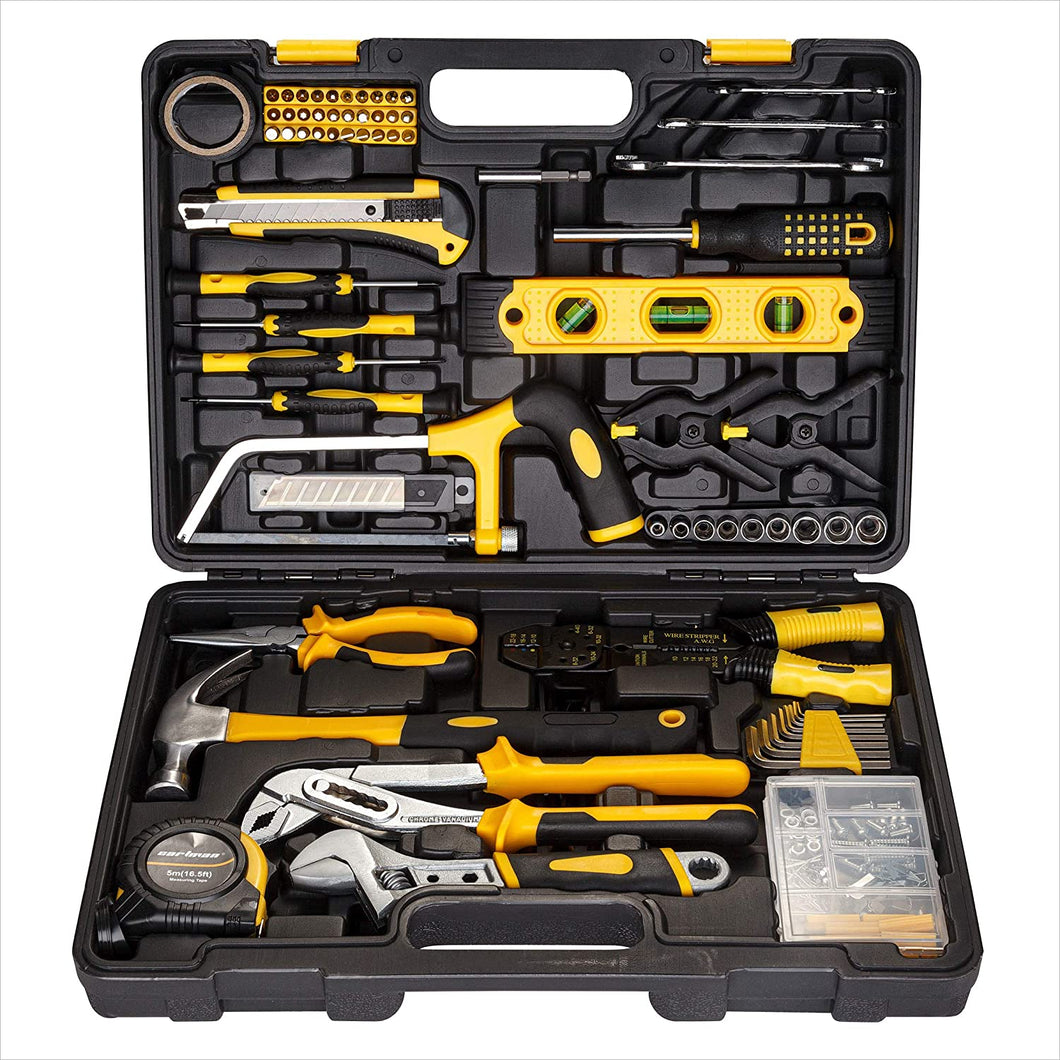 General Household Hand Tool Kit with Plastic Toolbox Storage Case, Yellow