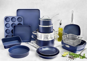 Granite Stone Pots and Pans Set, 20 Piece Complete Cookware + Bakeware Set