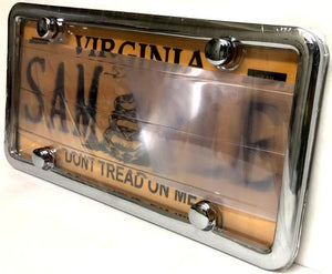 Smoked/Tinted Anti Photo Radar License Plate Cover & Chrome Metal Frame Combo w/ Bolt Caps