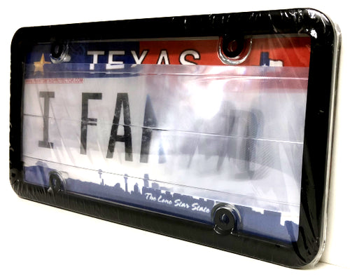 Clear Anti Photo Radar License Plate Cover & Black Metal Frame Combo w/ Bolt Caps