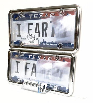 All NEW 2019 2nd Generation Phantom Tag Protector Clear Anti Photo License Plate Cover & Chrome Metal Frame w/Bolt Caps