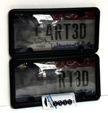 All NEW 2019 2nd Generation Phantom Tag Protector Tinted Anti Photo License Plate Cover & Black Metal Frame w/Bolt Caps