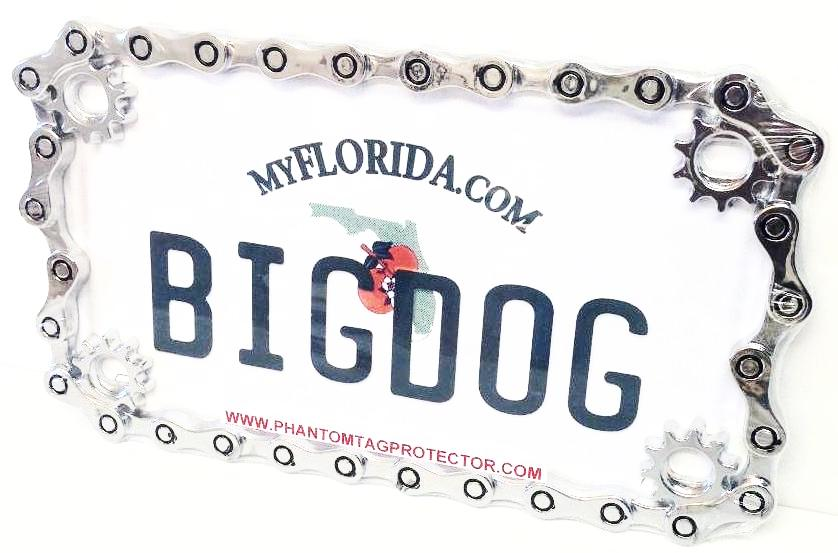 Chrome Metal Chain Motorcycle License Plate Frame