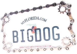 Phantom Tag Protector Chrome Metal Chain Motorcycle License Plate Frame