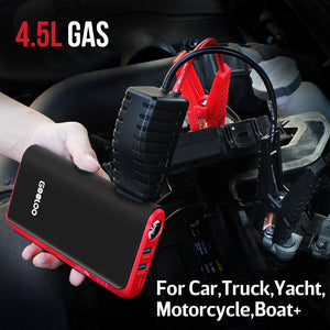 Quick Charge Portable Car Jump Starter Auto Battery Booster w/USB Phone Charger Ports & LED Light.