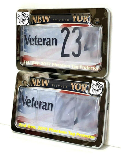 All-New 2019 2nd Gen. Motorcycle Clear Anti Photo Radar License Plate Cover & Chrome Metal Frame Combo