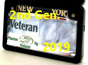 All-New 2019 2nd Gen. Motorcycle Clear Anti Photo Radar License Plate Cover & Black Metal Frame Combo