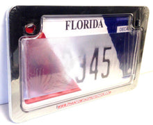 Motorcycle Clear Anti Photo Radar License Plate Cover & Chrome Metal Frame Combo
