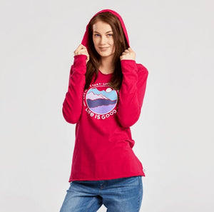 Life Is Good Smooth LS Hood Life Isn't Perfect Mountains - Women's