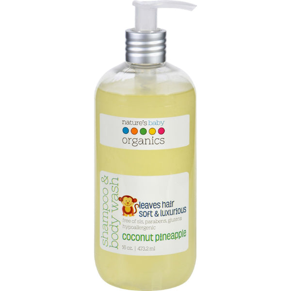 Natures Baby Organics Shampoo and Body Wash - Coconut Pienapple - 16 oz -Baby Bath & Shampoo- Allergy Free Me