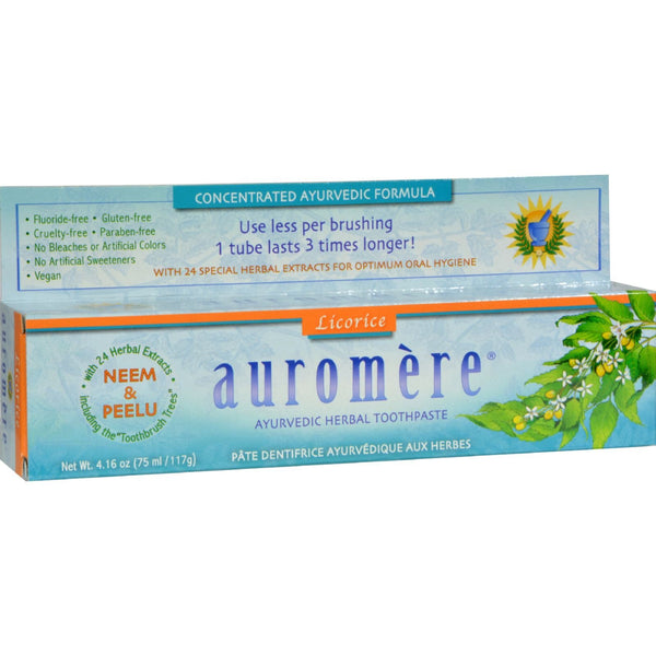 Auromere Herbal Toothpaste Original Licorice - 4.16 oz - Case of 12 -Oral Care- Allergy Free Me