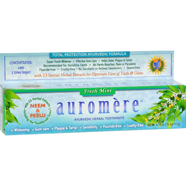 Auromere Toothpaste - Ayurvedic Herbal - Fresh Mint - 4.16 oz - Case of 12 -Oral Care- Allergy Free Me