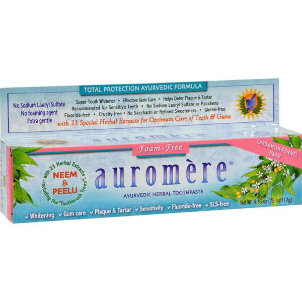 Auromere Herbal Toothpaste Cardamom-Fennel - 4.16 oz - Case of 12 - {shop_name}
