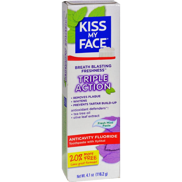 Kiss My Face Toothpaste - Triple Action - Anticvty Fluorid - Paste - 4.5 oz -Oral Care- Allergy Free Me