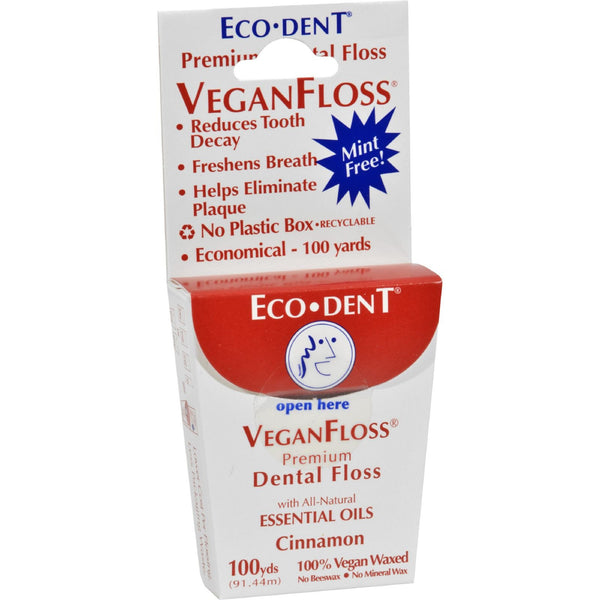 Eco-Dent VeganFloss Premium Dental Floss Cinnamon - 100 Yards - Case of 6 -Oral Care- Allergy Free Me