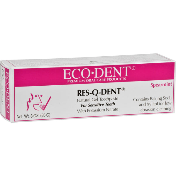 Eco-Dent Res-Q-Dent Toothpaste - Spearmint - 3 oz -Oral Care- Allergy Free Me