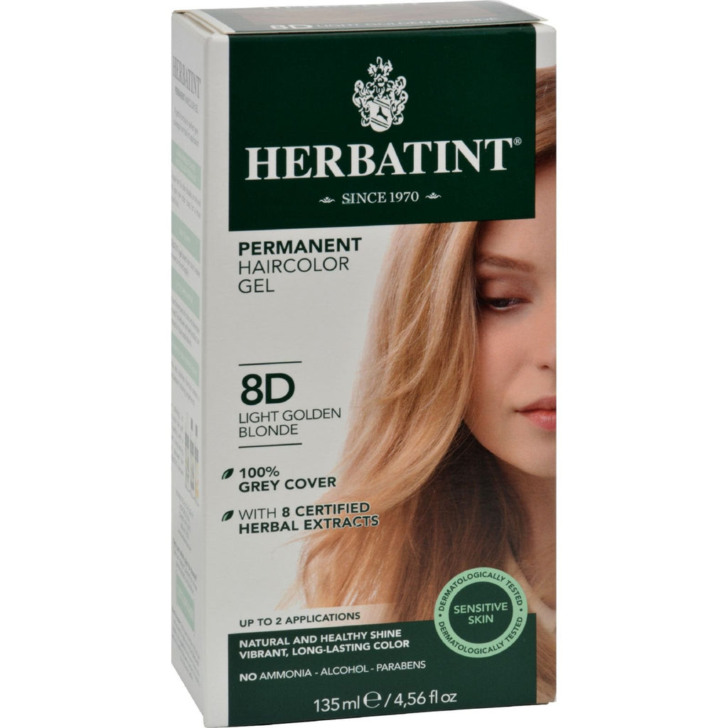 Herbatint Permanent Herbal Haircolour Gel 8D Light Golden Blonde - 135 ml - {shop_name}
