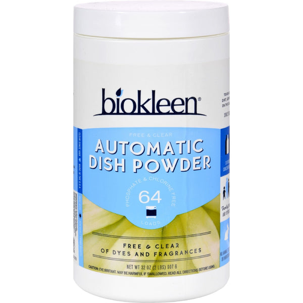 Biokleen Auto Dish Powder - Free and Clear - Case of 12 - 32 oz -Dishwashing- Allergy Free Me