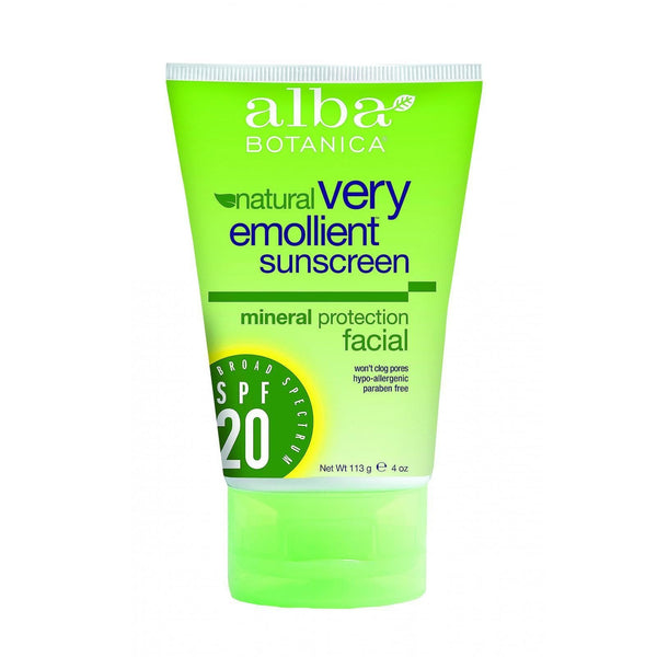 Alba Botanica Natural Sunblock - Very Emollient - Mineral SPF 20 - Facial - 4 oz - {shop_name}