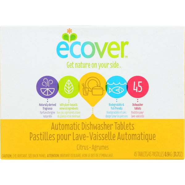 Ecover Automatic Dishwasher Tablets - Citrus - 45 count - case of 5 -Dishwashing- Allergy Free Me
