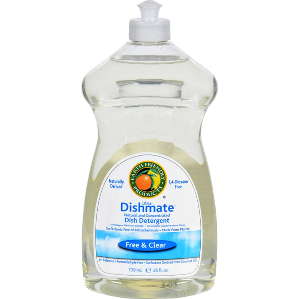 Earth Friendly Dishmate - Free and Clear - Case of 6 - 25 fl oz -Dishwashing- Allergy Free Me