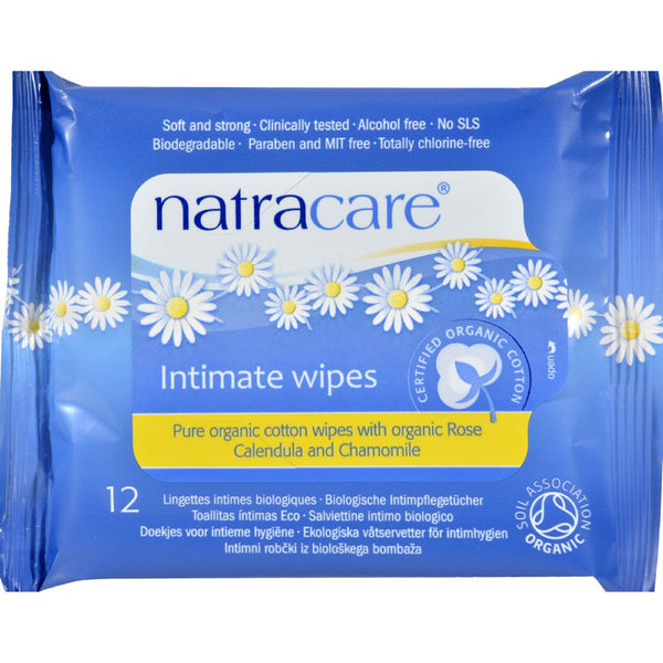 Natracare Organic Cotton Intimate Wipes - 12 Wipes - Case of 12 - {shop_name}