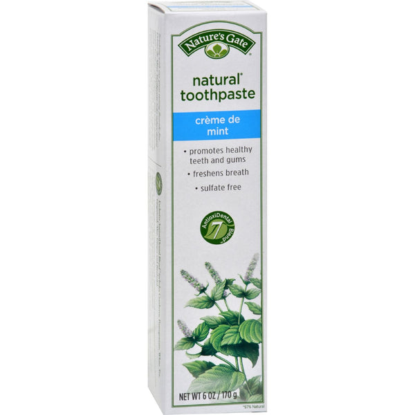 Nature's Gate Natural Toothpaste Creme De Mint Flouride Free - 6 oz - Case of 6 -Oral Care- Allergy Free Me