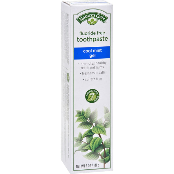 Nature's Gate Natural Toothpaste Gel Flouride Free Cool Mint - 5 oz - Case of 6 -Oral Care- Allergy Free Me