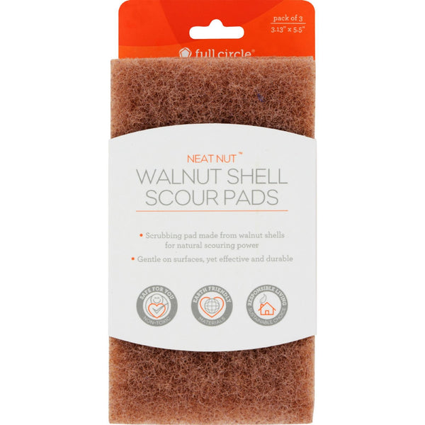 Full Circle Home Scour Pads - Neat Nut Walnut Shell - 3 ct - Case of 6 -Scrubbers and Sponges- Allergy Free Me