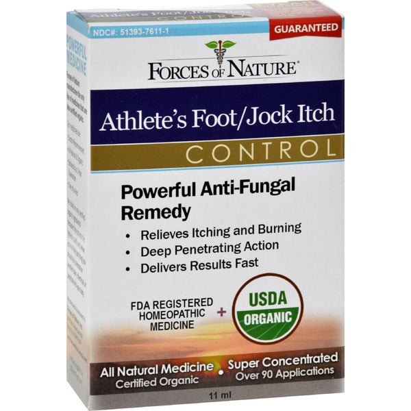 Forces of Nature Organic Athlete's Foot and Jock Itch Control - 11 ml -Skin Condition- Allergy Free Me