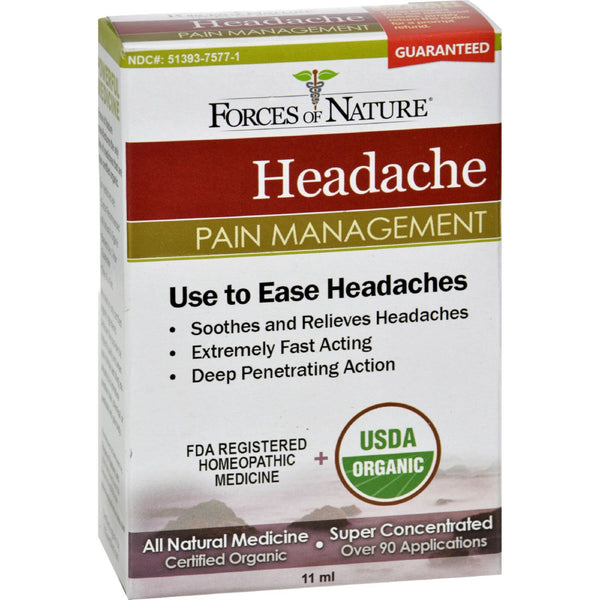 Forces of Nature Organic Headache Pain Management - 11 ml -Medical- Allergy Free Me