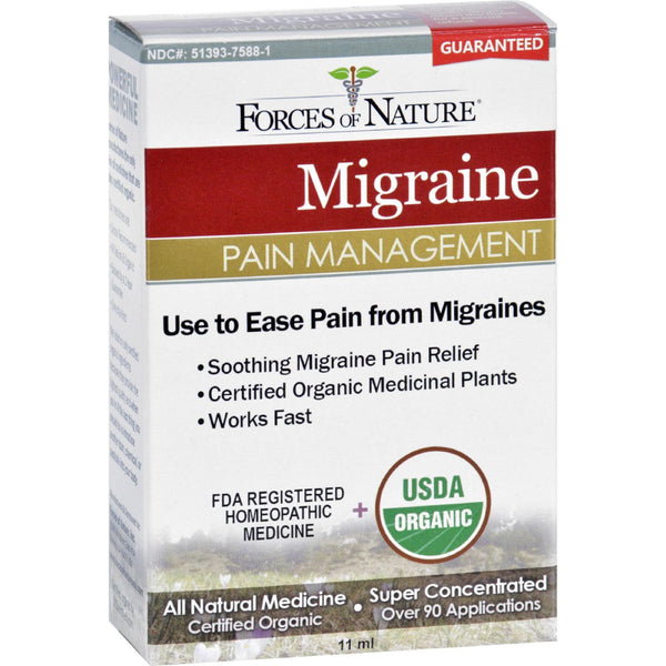 Forces of Nature Organic Migrane Pain Management - 11 ml -Medical- Allergy Free Me