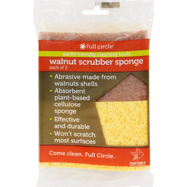 Full Circle Home Sponge Walnut Scrubber - Case of 6 - 2 Pack -Scrubbers and Sponges- Allergy Free Me