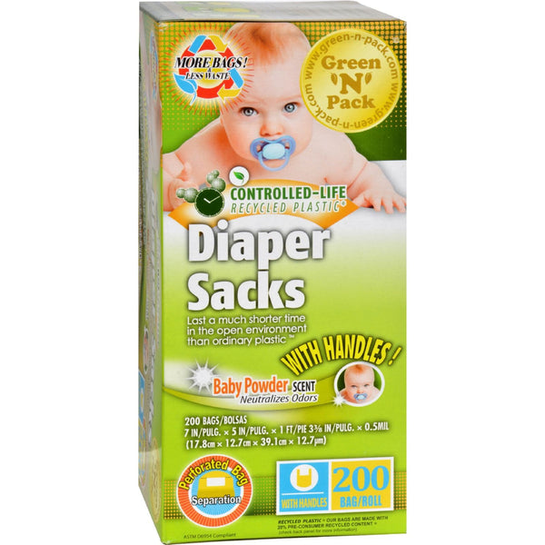 Green-n-Pack Disposable Diaper Bags - Scented - 200 Pack -Nursery Cleaning- Allergy Free Me