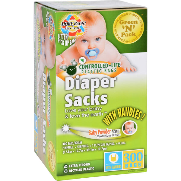 Eco-Friendly Bags Green N Pack Diaper Sacks - Baby Powder Scented - 300 Bags - 1 Count -Nursery Cleaning- Allergy Free Me