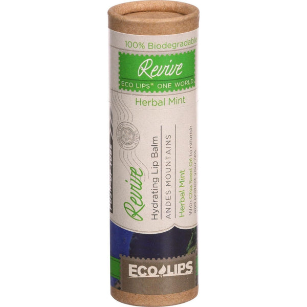 Ecolips Organic Lip Balm - One World Eco Tube - Revive - Hydrating - Herbal Mint - .3 oz - Case of 15 -Lip Balm- Allergy Free Me